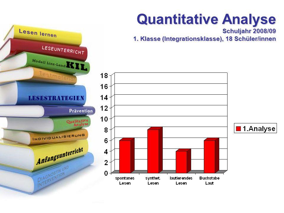 Quantitative Analyse Schuljahr 2008/09 1. Klasse (Integrationsklasse), 18 Schüler/innen