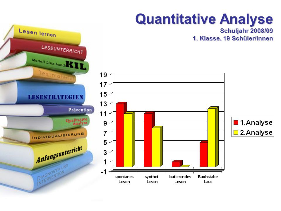 Quantitative Analyse Schuljahr 2008/09 1. Klasse, 19 Schüler/innen