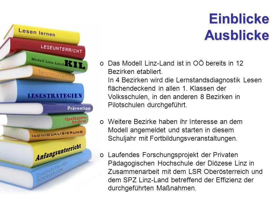 Einblicke Ausblicke oDas Modell Linz-Land ist in OÖ bereits in 12 Bezirken etabliert.