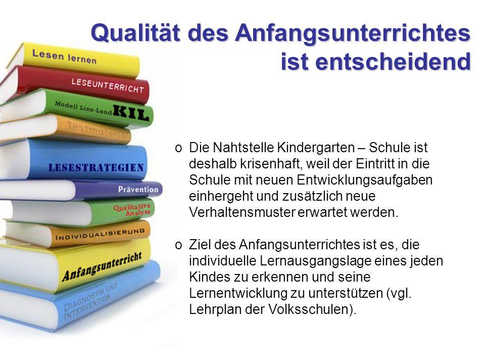 Qualität des Anfangsunterrichtes ist entscheidend oDie Nahtstelle Kindergarten – Schule ist deshalb krisenhaft, weil der Eintritt in die Schule mit neuen Entwicklungsaufgaben einhergeht und zusätzlich neue Verhaltensmuster erwartet werden.