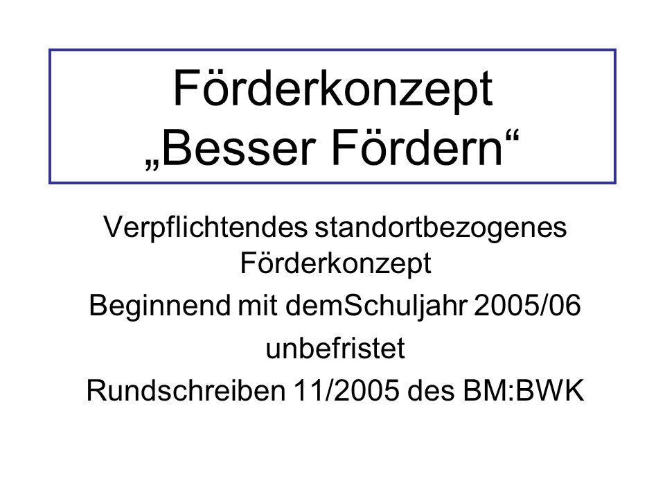 """Förderkonzept """"Besser Fördern Verpflichtendes standortbezogenes Förderkonzept Beginnend mit demSchuljahr 2005/06 unbefristet Rundschreiben 11/2005 des BM:BWK"""
