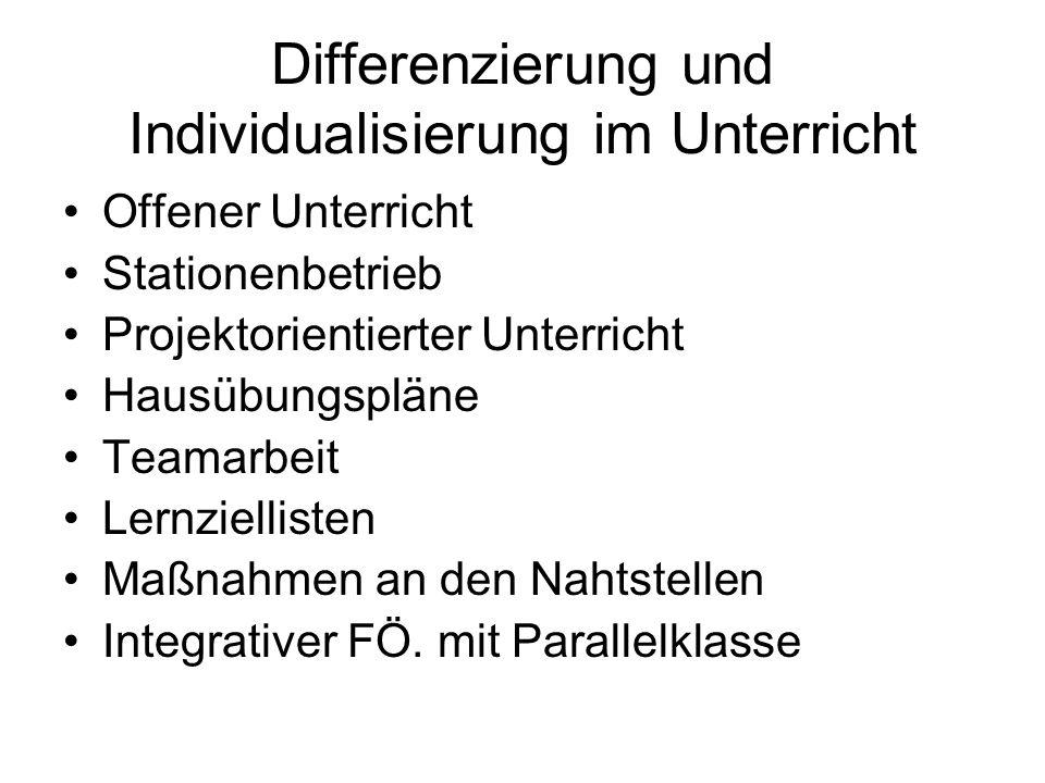 Differenzierung und Individualisierung im Unterricht Offener Unterricht Stationenbetrieb Projektorientierter Unterricht Hausübungspläne Teamarbeit Lernziellisten Maßnahmen an den Nahtstellen Integrativer FÖ.