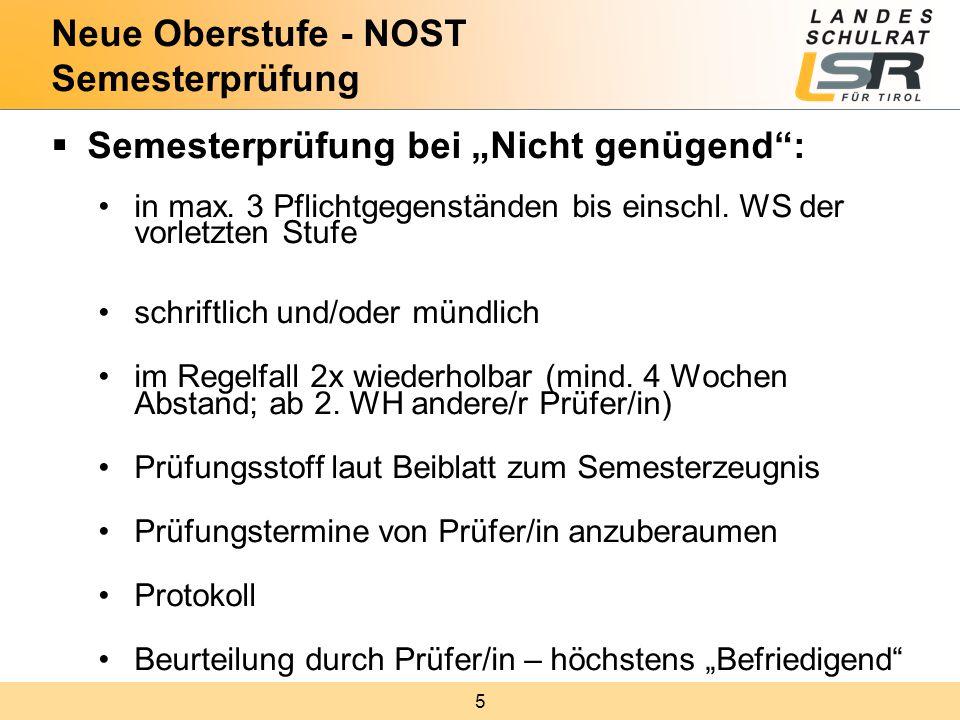 """5  Semesterprüfung bei """"Nicht genügend : in max. 3 Pflichtgegenständen bis einschl."""
