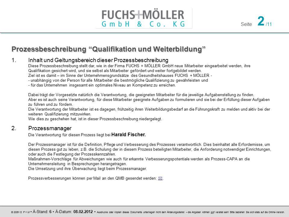 Seite 3 /11 © 2006-12 F + M Ä-Stand: 6 Ä-Datum: 08.02.2012 Ausdrucke oder Kopien dieses Dokuments unterliegen nicht dem Änderungsdienst – die Angaben können ggf.
