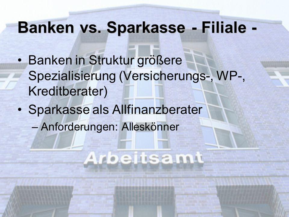 Banken vs. Sparkasse - Filiale - Banken in Struktur größere Spezialisierung (Versicherungs-, WP-, Kreditberater) Sparkasse als Allfinanzberater –Anfor