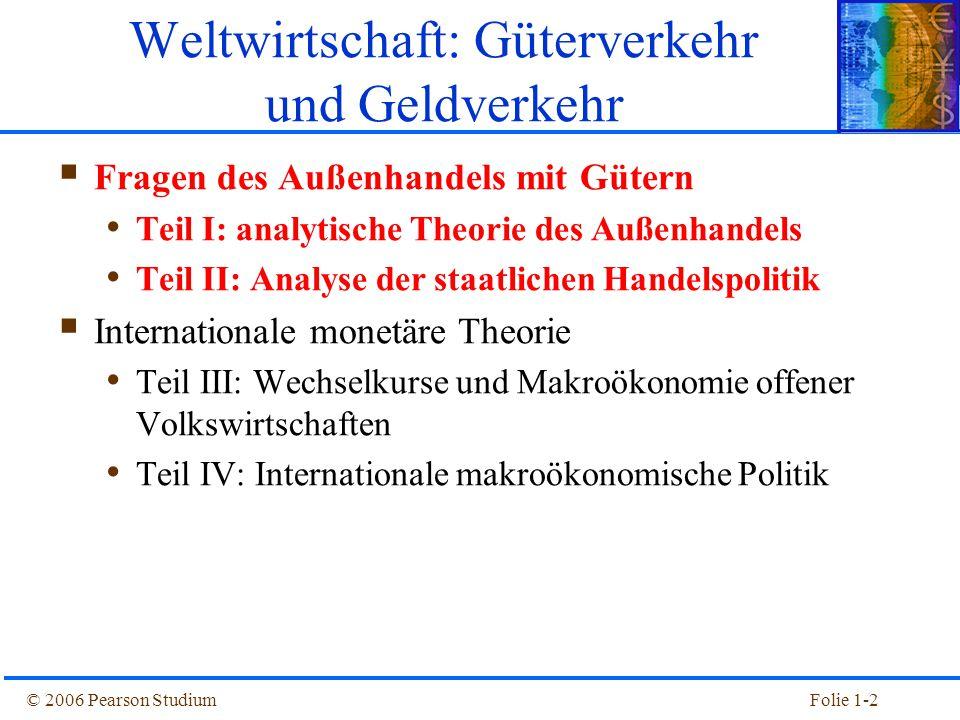 © 2006 Pearson StudiumFolie 1-2  Fragen des Außenhandels mit Gütern Teil I: analytische Theorie des Außenhandels Teil II: Analyse der staatlichen Han