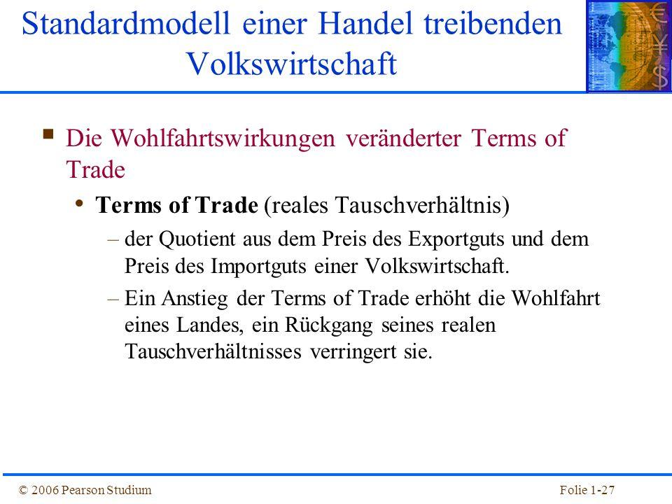 © 2006 Pearson StudiumFolie 1-27  Die Wohlfahrtswirkungen veränderter Terms of Trade Terms of Trade (reales Tauschverhältnis) –der Quotient aus dem P