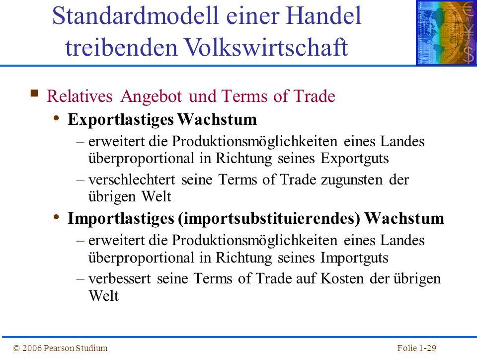 © 2006 Pearson StudiumFolie 1-29  Relatives Angebot und Terms of Trade Exportlastiges Wachstum –erweitert die Produktionsmöglichkeiten eines Landes ü