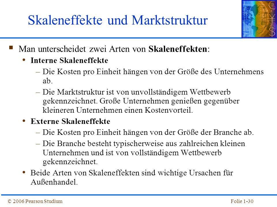 © 2006 Pearson StudiumFolie 1-30 Skaleneffekte und Marktstruktur  Man unterscheidet zwei Arten von Skaleneffekten: Interne Skaleneffekte –Die Kosten