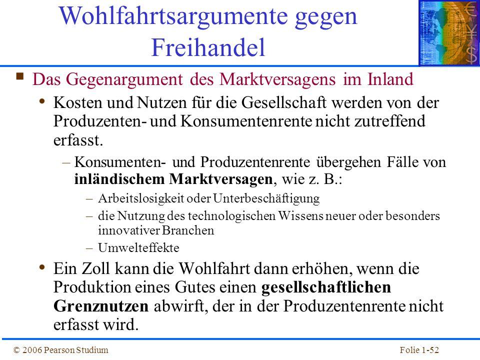 © 2006 Pearson StudiumFolie 1-52  Das Gegenargument des Marktversagens im Inland Kosten und Nutzen für die Gesellschaft werden von der Produzenten- u