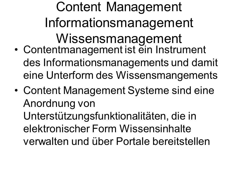 Content Management Informationsmanagement Wissensmanagement Contentmanagement ist ein Instrument des Informationsmanagements und damit eine Unterform des Wissensmangements Content Management Systeme sind eine Anordnung von Unterstützungsfunktionalitäten, die in elektronischer Form Wissensinhalte verwalten und über Portale bereitstellen