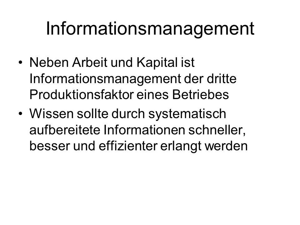 Informationsmanagement Neben Arbeit und Kapital ist Informationsmanagement der dritte Produktionsfaktor eines Betriebes Wissen sollte durch systematisch aufbereitete Informationen schneller, besser und effizienter erlangt werden