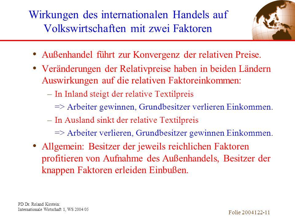 PD Dr. Roland Kirstein: Internationale Wirtschaft 1, WS 2004/05 Folie 2004122-11 Außenhandel führt zur Konvergenz der relativen Preise. Veränderungen