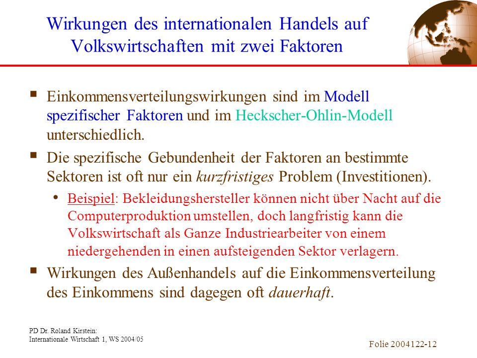 PD Dr. Roland Kirstein: Internationale Wirtschaft 1, WS 2004/05 Folie 2004122-12  Einkommensverteilungswirkungen sind im Modell spezifischer Faktoren