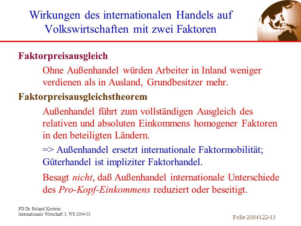 PD Dr. Roland Kirstein: Internationale Wirtschaft 1, WS 2004/05 Folie 2004122-13 Faktorpreisausgleich Ohne Außenhandel würden Arbeiter in Inland wenig