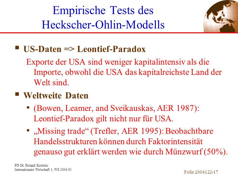 PD Dr. Roland Kirstein: Internationale Wirtschaft 1, WS 2004/05 Folie 2004122-17  US-Daten => Leontief-Paradox Exporte der USA sind weniger kapitalin