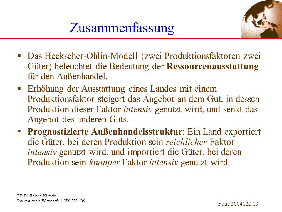PD Dr. Roland Kirstein: Internationale Wirtschaft 1, WS 2004/05 Folie 2004122-19  Das Heckscher-Ohlin-Modell (zwei Produktionsfaktoren zwei Güter) be