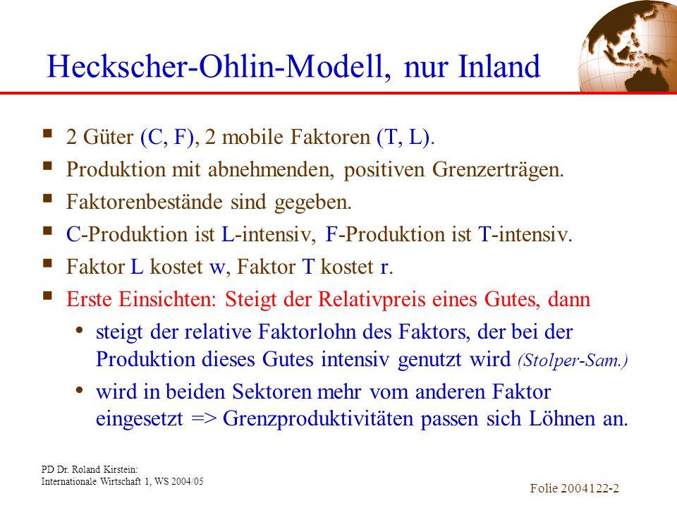PD Dr. Roland Kirstein: Internationale Wirtschaft 1, WS 2004/05 Folie 2004122-2 Heckscher-Ohlin-Modell, nur Inland  2 Güter (C, F), 2 mobile Faktoren