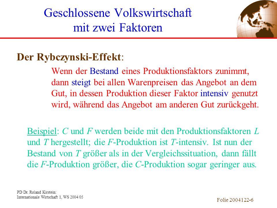 PD Dr. Roland Kirstein: Internationale Wirtschaft 1, WS 2004/05 Folie 2004122-6 Der Rybczynski-Effekt: Wenn der Bestand eines Produktionsfaktors zunim
