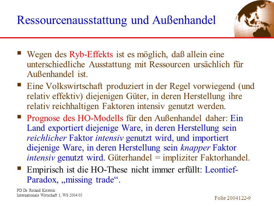PD Dr. Roland Kirstein: Internationale Wirtschaft 1, WS 2004/05 Folie 2004122-9  Wegen des Ryb-Effekts ist es möglich, daß allein eine unterschiedlic