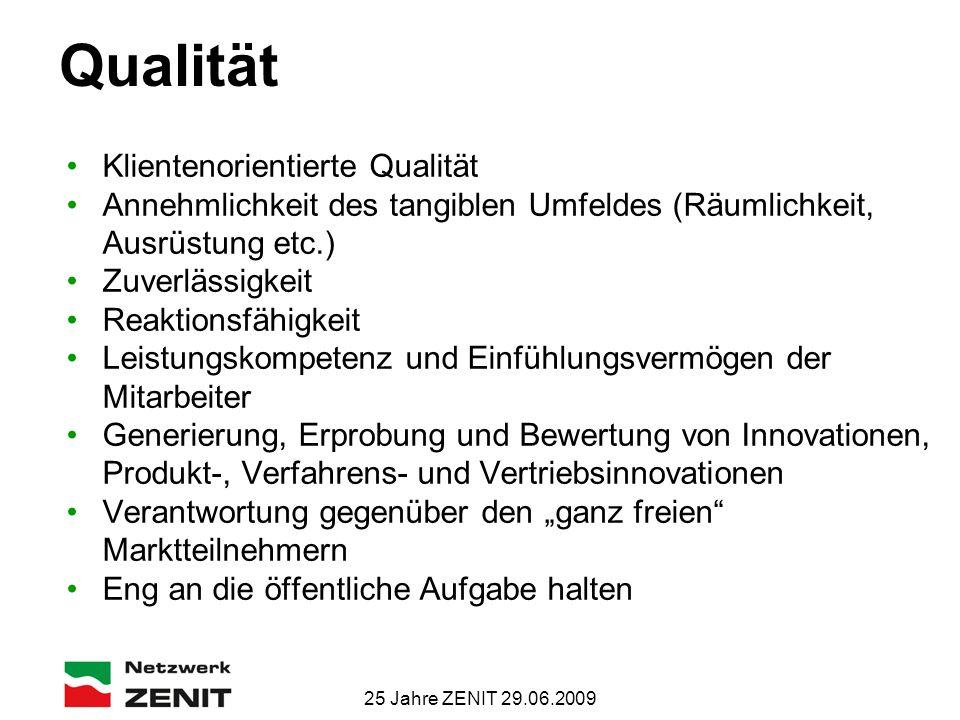 25 Jahre ZENIT 29.06.2009 Qualität Klientenorientierte Qualität Annehmlichkeit des tangiblen Umfeldes (Räumlichkeit, Ausrüstung etc.) Zuverlässigkeit