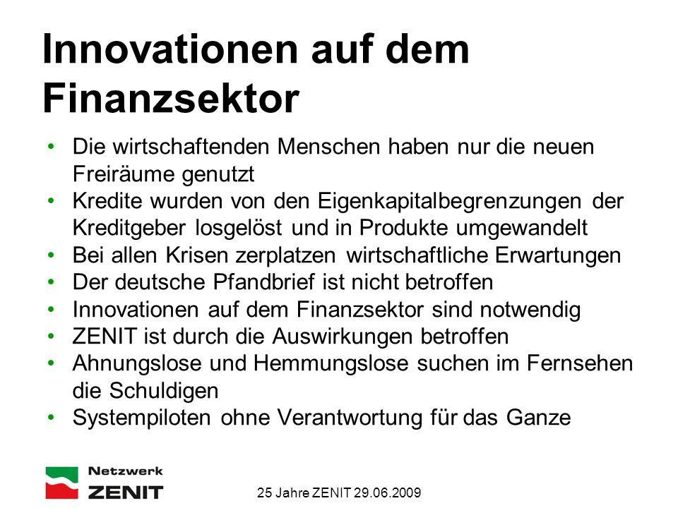 25 Jahre ZENIT 29.06.2009 Innovationen auf dem Finanzsektor Die wirtschaftenden Menschen haben nur die neuen Freiräume genutzt Kredite wurden von den