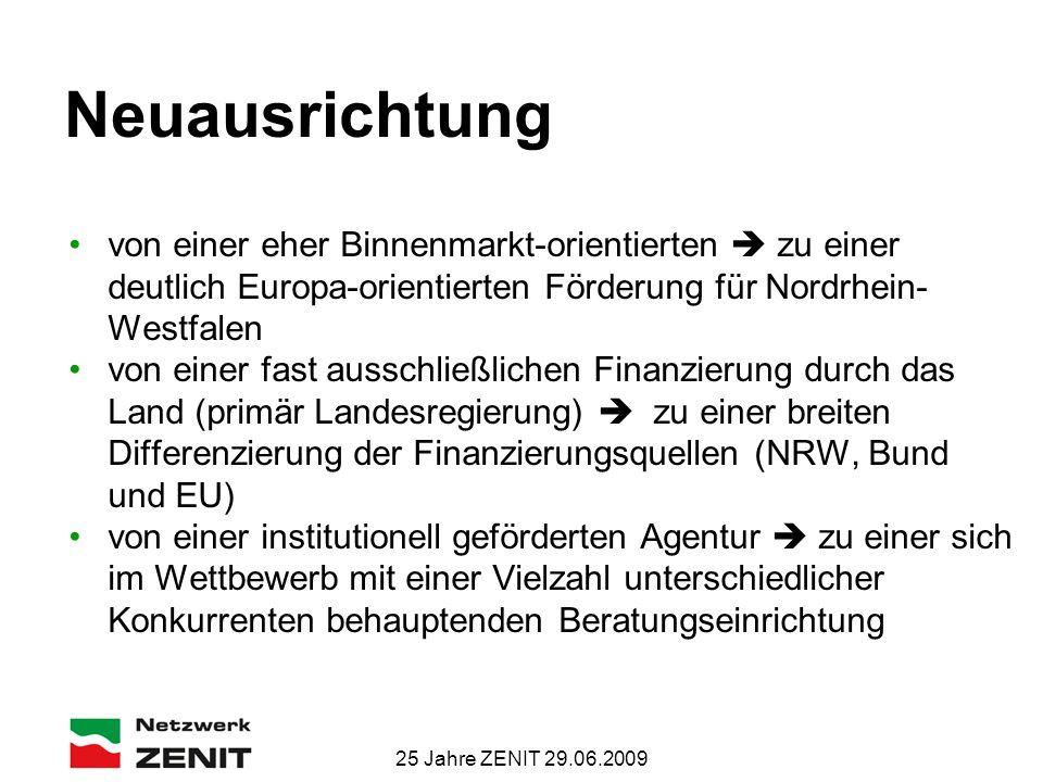 25 Jahre ZENIT 29.06.2009 Neuausrichtung von einer eher Binnenmarkt-orientierten  zu einer deutlich Europa-orientierten Förderung für Nordrhein- Westfalen von einer fast ausschließlichen Finanzierung durch das Land (primär Landesregierung)  zu einer breiten Differenzierung der Finanzierungsquellen (NRW, Bund und EU) von einer institutionell geförderten Agentur  zu einer sich im Wettbewerb mit einer Vielzahl unterschiedlicher Konkurrenten behauptenden Beratungseinrichtung