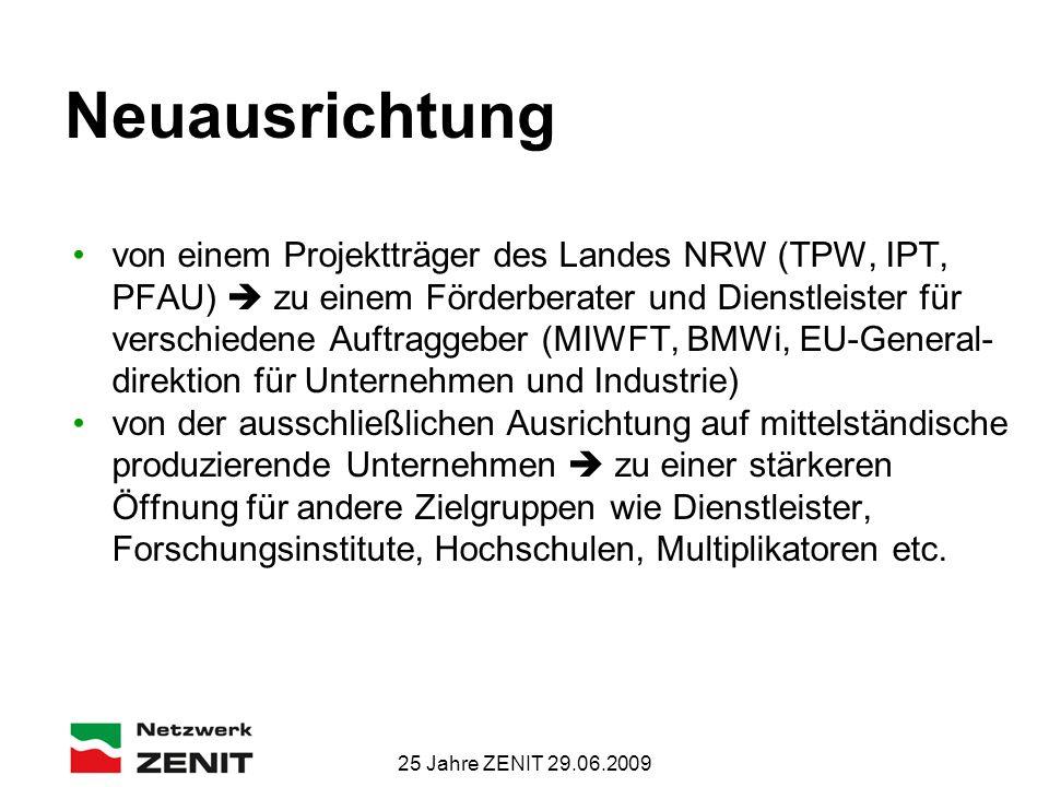 25 Jahre ZENIT 29.06.2009 Neuausrichtung von einem Projektträger des Landes NRW (TPW, IPT, PFAU)  zu einem Förderberater und Dienstleister für verschiedene Auftraggeber (MIWFT, BMWi, EU-General- direktion für Unternehmen und Industrie) von der ausschließlichen Ausrichtung auf mittelständische produzierende Unternehmen  zu einer stärkeren Öffnung für andere Zielgruppen wie Dienstleister, Forschungsinstitute, Hochschulen, Multiplikatoren etc.