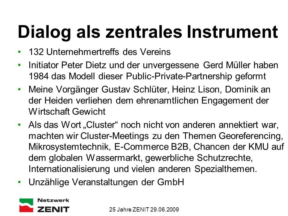 25 Jahre ZENIT 29.06.2009 Dialog als zentrales Instrument 132 Unternehmertreffs des Vereins Initiator Peter Dietz und der unvergessene Gerd Müller hab