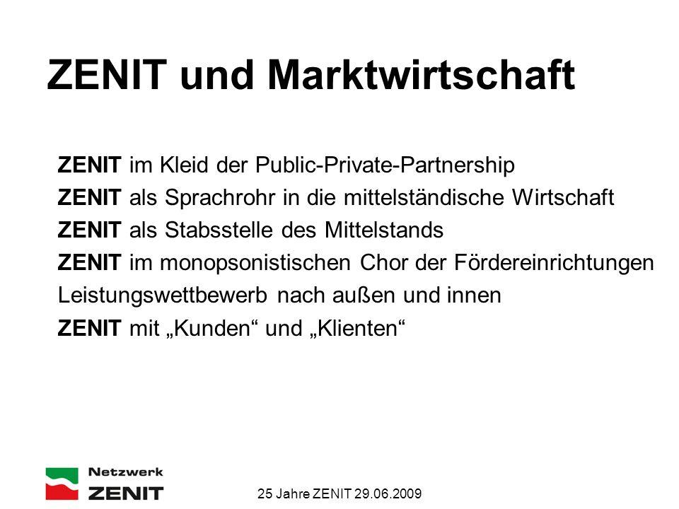25 Jahre ZENIT 29.06.2009 ZENIT und Marktwirtschaft ZENIT im Kleid der Public-Private-Partnership ZENIT als Sprachrohr in die mittelständische Wirtsch