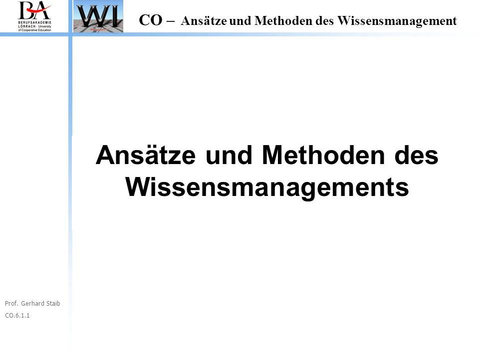 Prof. Gerhard Staib CO.6.1.1 CO – Ansätze und Methoden des Wissensmanagement Ansätze und Methoden des Wissensmanagements