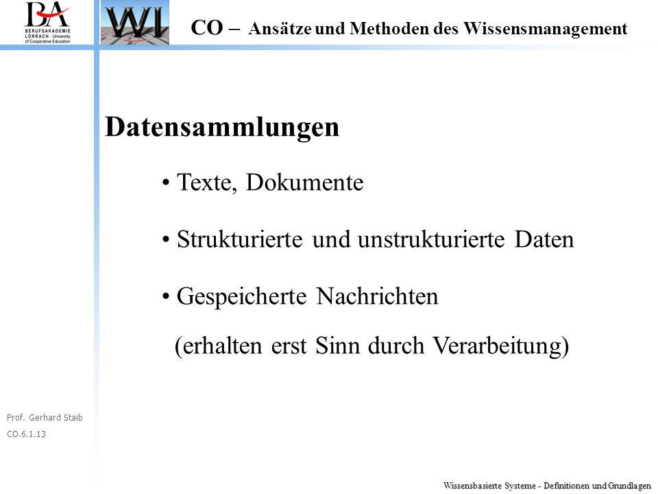 Prof. Gerhard Staib CO.6.1.13 CO – Ansätze und Methoden des Wissensmanagement Datensammlungen Texte, Dokumente Strukturierte und unstrukturierte Daten