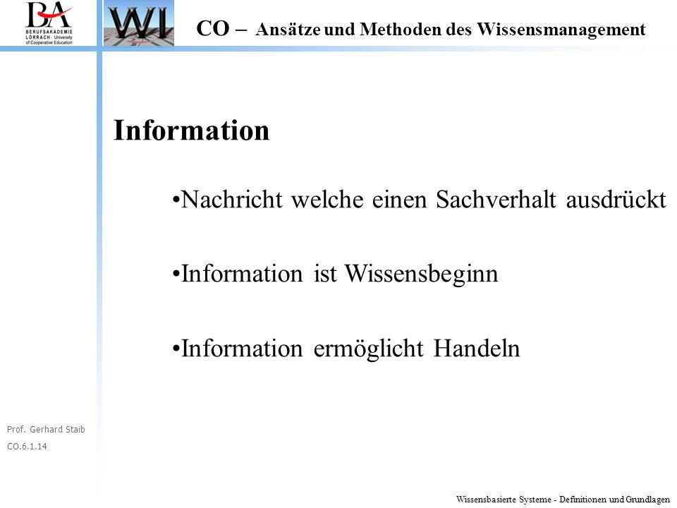 Prof. Gerhard Staib CO.6.1.14 CO – Ansätze und Methoden des Wissensmanagement Information Nachricht welche einen Sachverhalt ausdrückt Information ist