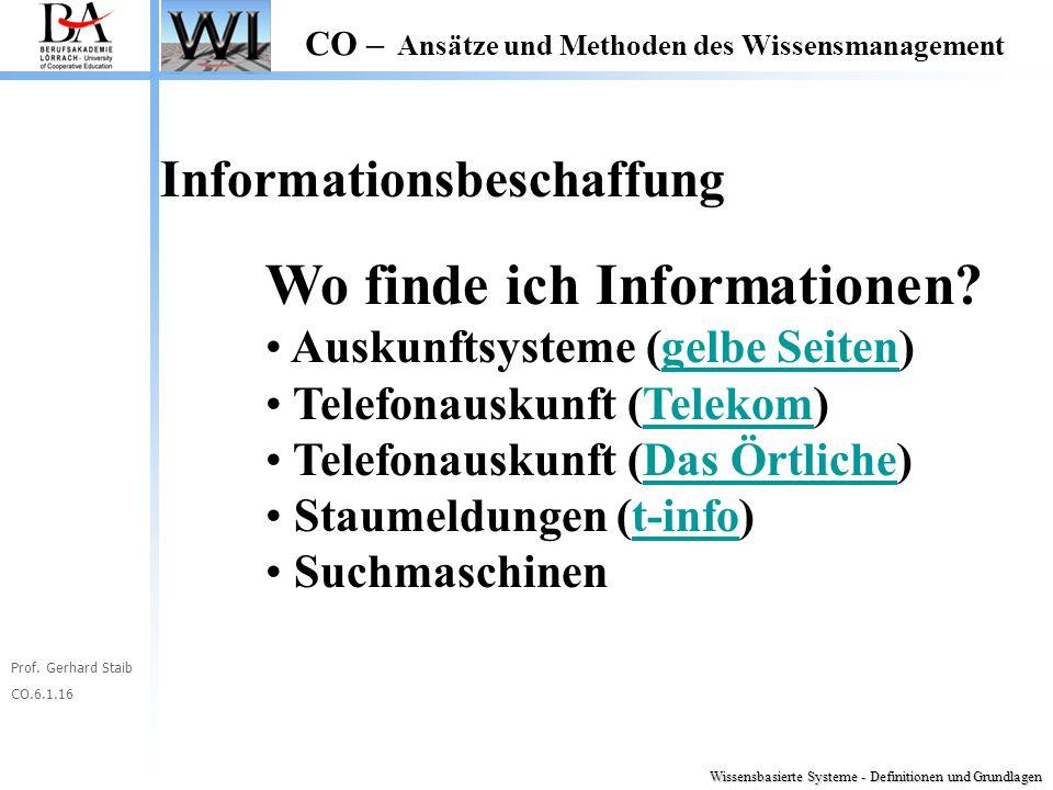 Prof. Gerhard Staib CO.6.1.16 CO – Ansätze und Methoden des Wissensmanagement Informationsbeschaffung Wo finde ich Informationen? Auskunftsysteme (gel