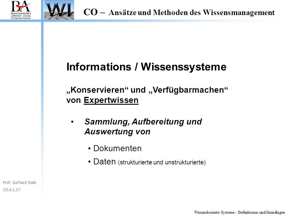 """Prof. Gerhard Staib CO.6.1.17 CO – Ansätze und Methoden des Wissensmanagement Informations / Wissenssysteme """"Konservieren"""" und """"Verfügbarmachen"""" von E"""