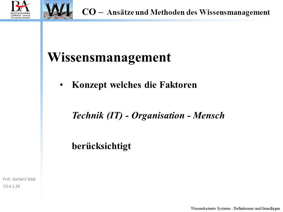 Prof. Gerhard Staib CO.6.1.29 CO – Ansätze und Methoden des Wissensmanagement Wissensmanagement Konzept welches die Faktoren Technik (IT) - Organisati