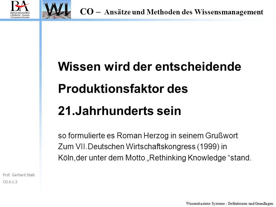 Prof. Gerhard Staib CO.6.1.3 CO – Ansätze und Methoden des Wissensmanagement Wissen wird der entscheidende Produktionsfaktor des 21.Jahrhunderts sein