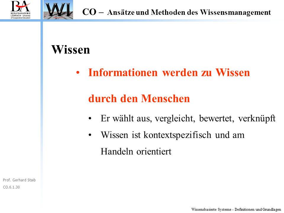 Prof. Gerhard Staib CO.6.1.30 CO – Ansätze und Methoden des Wissensmanagement Wissen Informationen werden zu Wissen durch den Menschen Er wählt aus, v