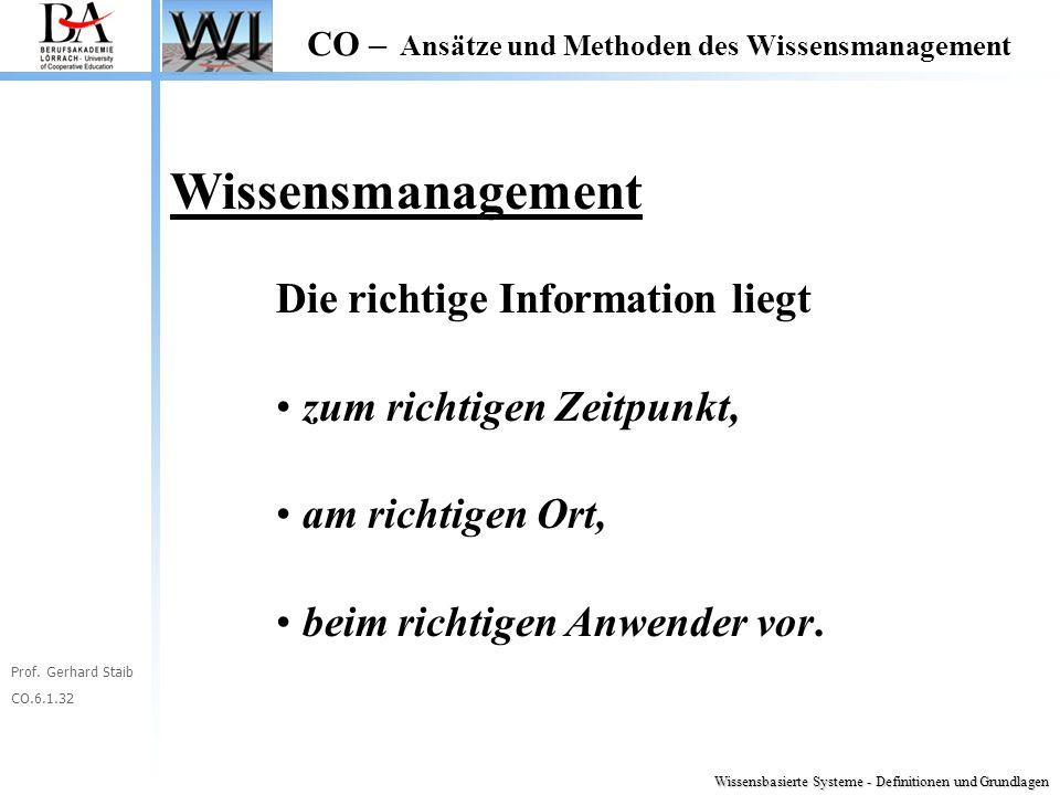 Prof. Gerhard Staib CO.6.1.32 CO – Ansätze und Methoden des Wissensmanagement Wissensmanagement Die richtige Information liegt zum richtigen Zeitpunkt