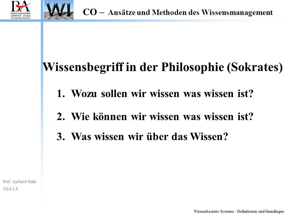 Prof. Gerhard Staib CO.6.1.5 CO – Ansätze und Methoden des Wissensmanagement Wissensbasierte Systeme - Definitionen und Grundlagen Wissensbegriff in d