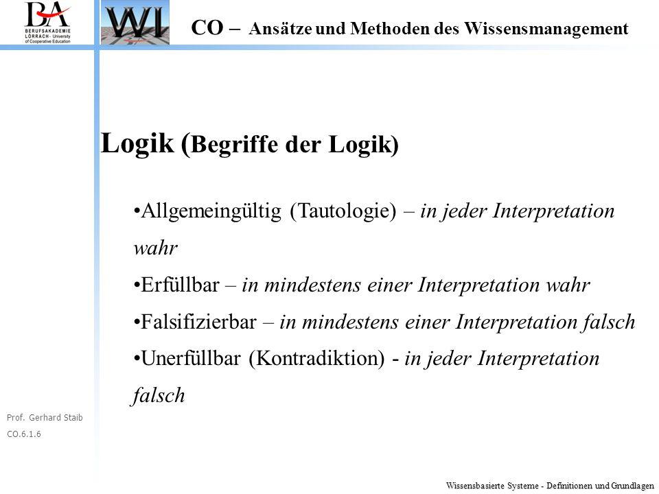 Prof. Gerhard Staib CO.6.1.6 CO – Ansätze und Methoden des Wissensmanagement Logik ( Begriffe der Logik) Allgemeingültig (Tautologie) – in jeder Inter