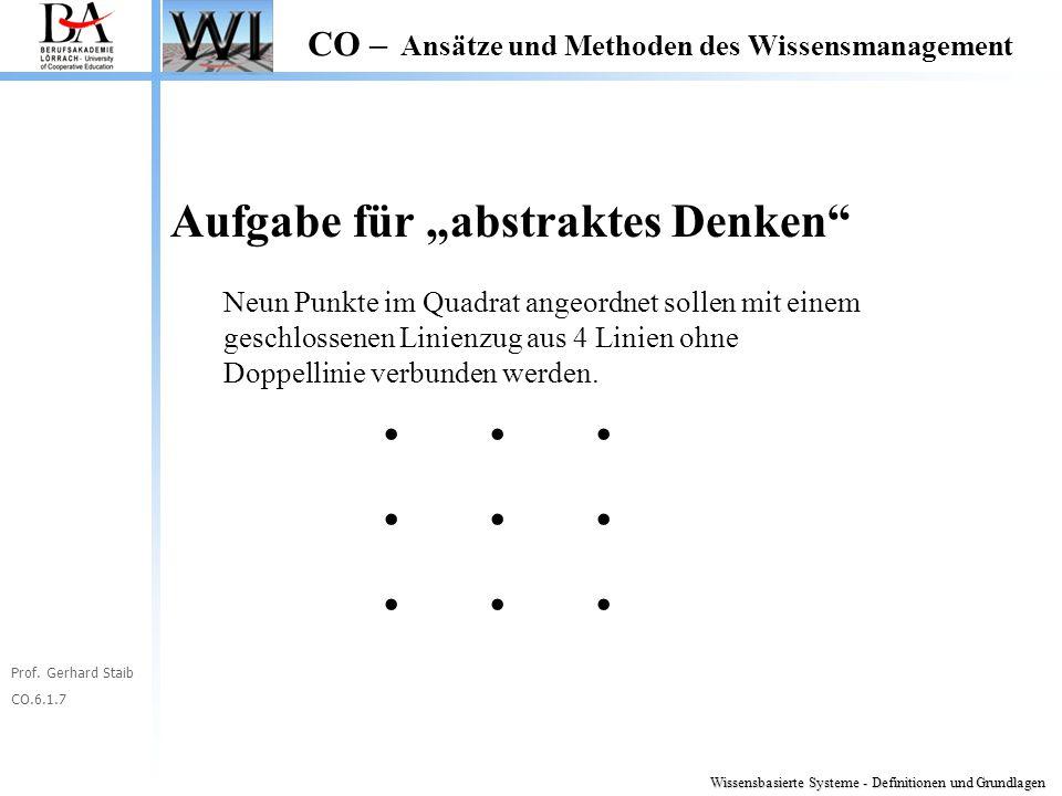 """Prof. Gerhard Staib CO.6.1.7 CO – Ansätze und Methoden des Wissensmanagement Aufgabe für """"abstraktes Denken"""" Neun Punkte im Quadrat angeordnet sollen"""