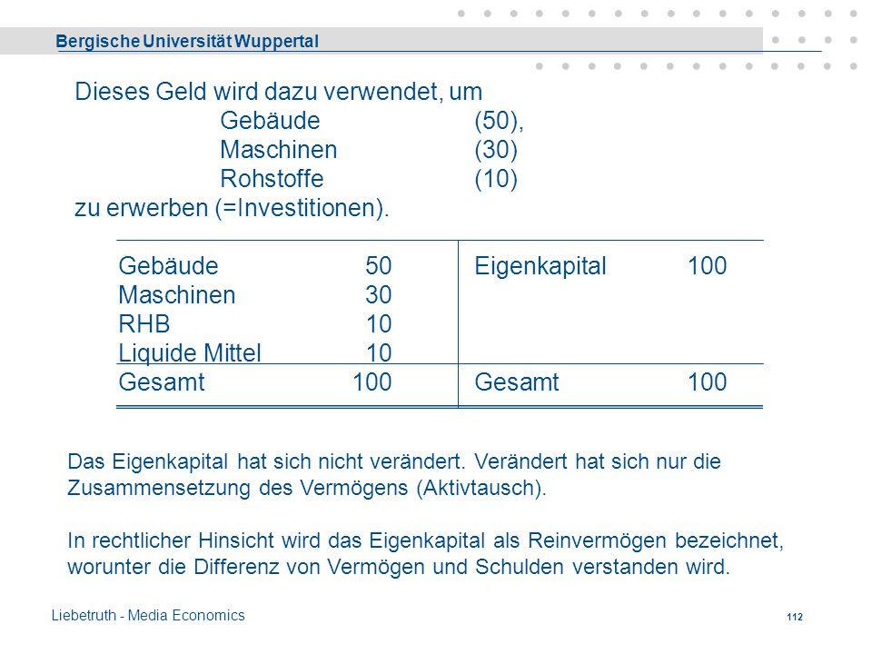 Bergische Universität Wuppertal Liebetruth - Media Economics 111 Die Umwandlung von Geldkapital in Sachkapital ( = Produktionsgüter) durch Kauf oder e