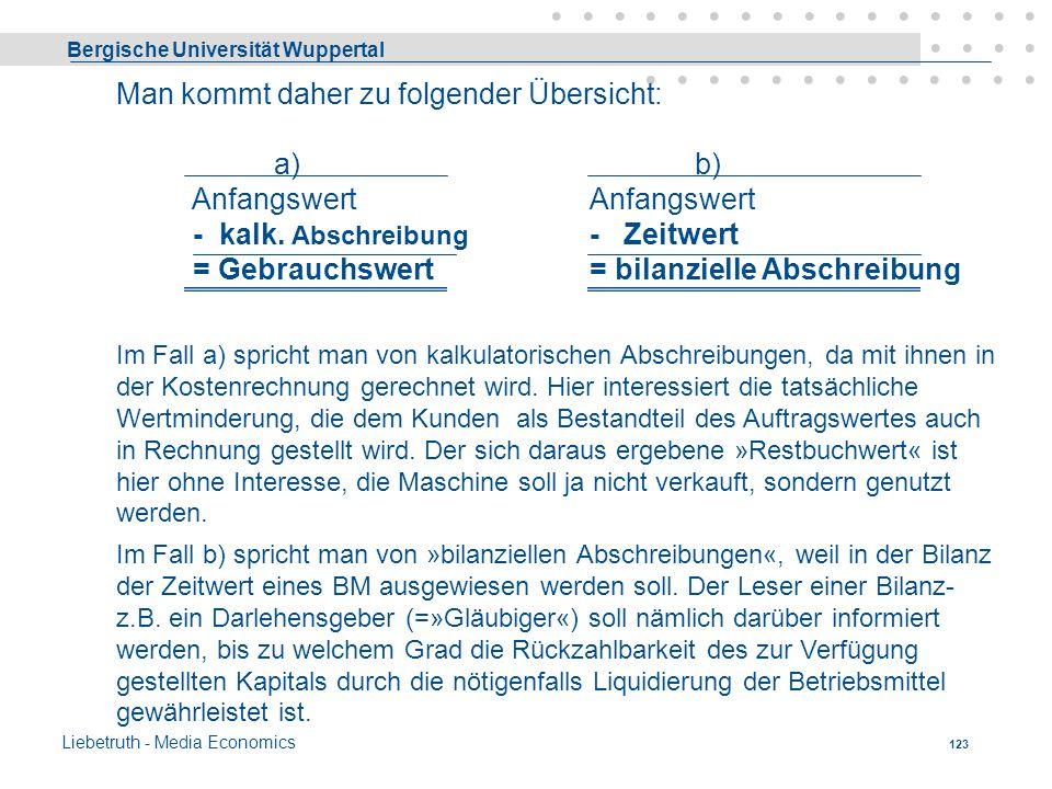 Bergische Universität Wuppertal Liebetruth - Media Economics 122 Gebrauchs-, Zeitwert Die Verrechnung von Abschreibungen kann zwei unterschiedlichen Z