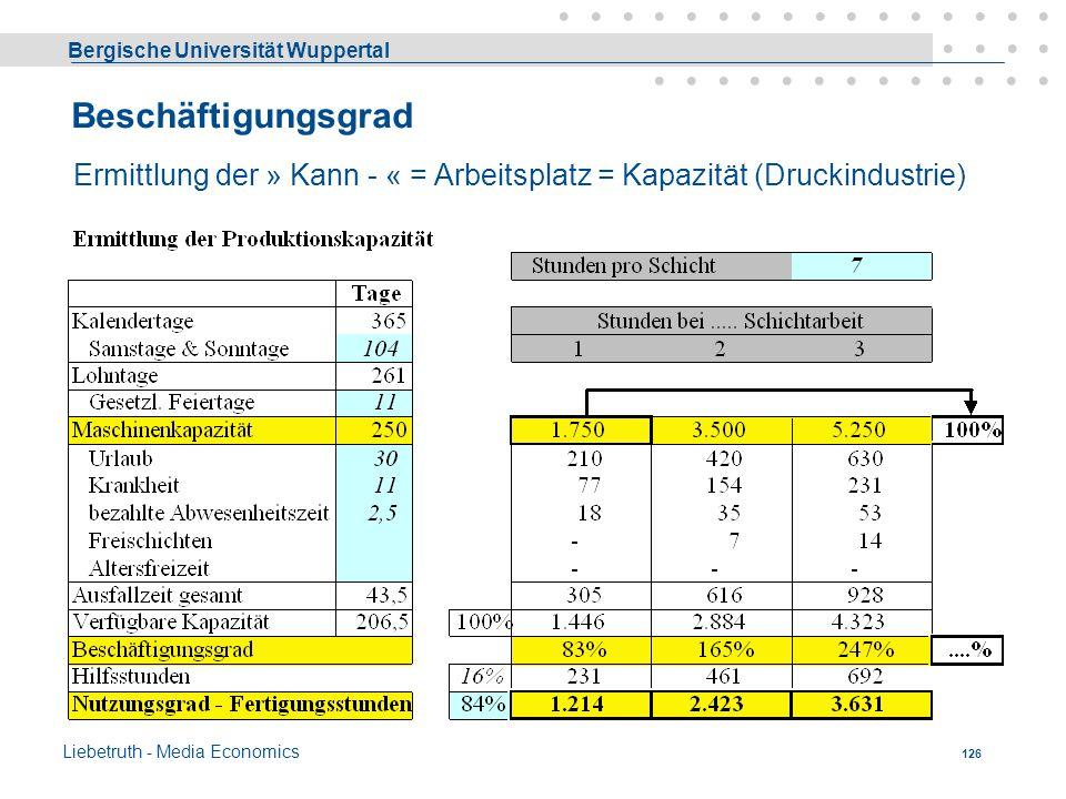Bergische Universität Wuppertal Liebetruth - Media Economics 125 Beschäftigungsgrad Die Wirtschaftlichkeit des Einsatzes eines BM wird wesentlich best