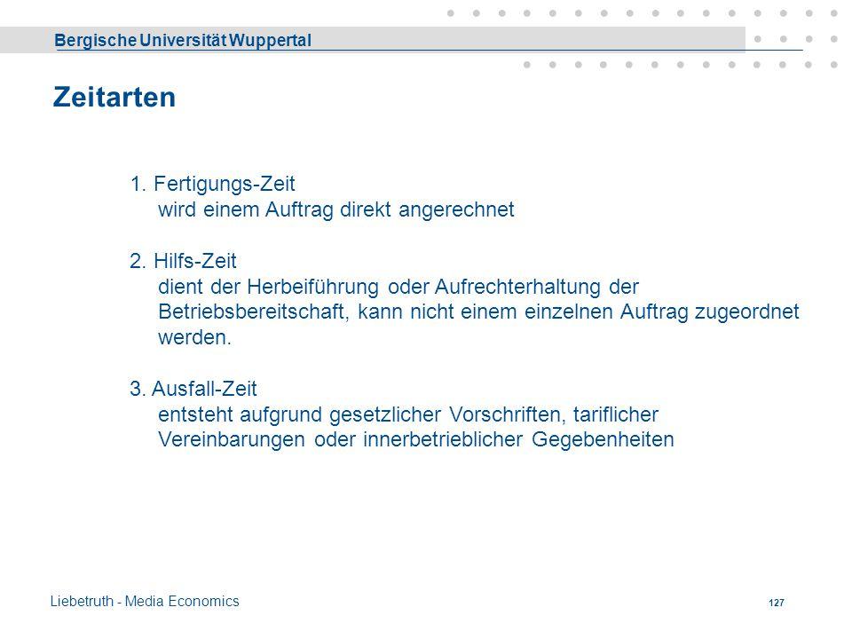 Bergische Universität Wuppertal Liebetruth - Media Economics 126 Beschäftigungsgrad Ermittlung der » Kann - « = Arbeitsplatz = Kapazität (Druckindustr