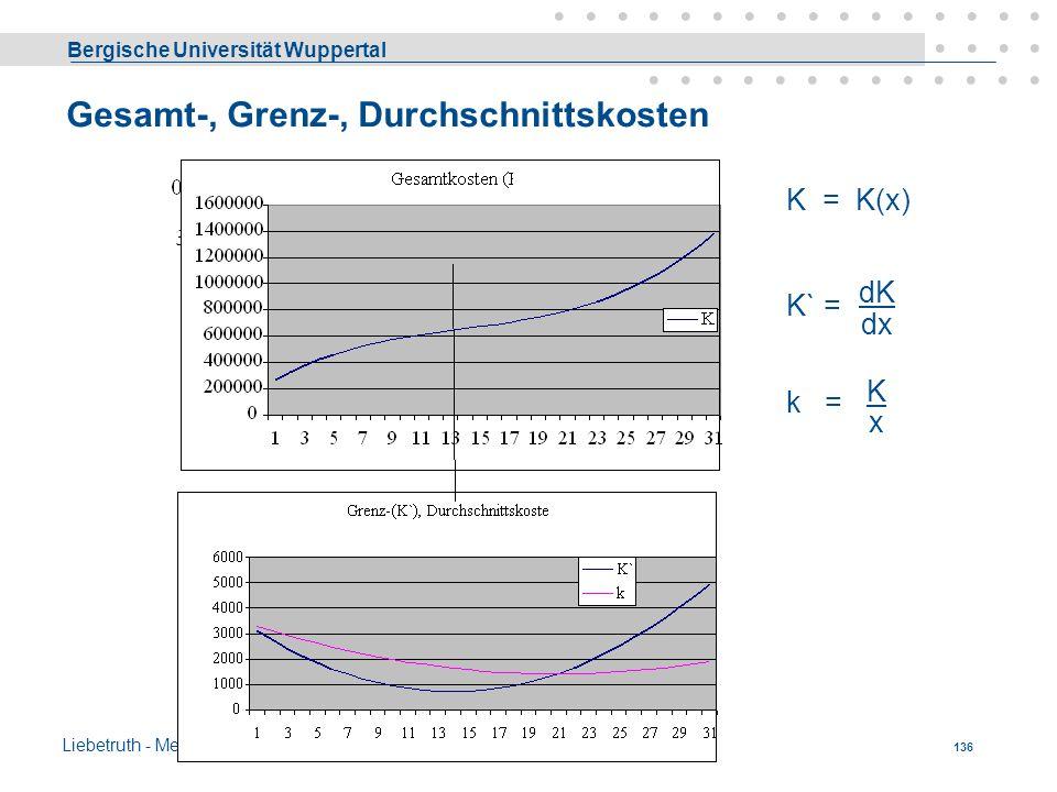 Bergische Universität Wuppertal Liebetruth - Media Economics 135 Die monetäre Produktionsfunktion gibt also an, welchen Ertrag man bei einem bestimmte