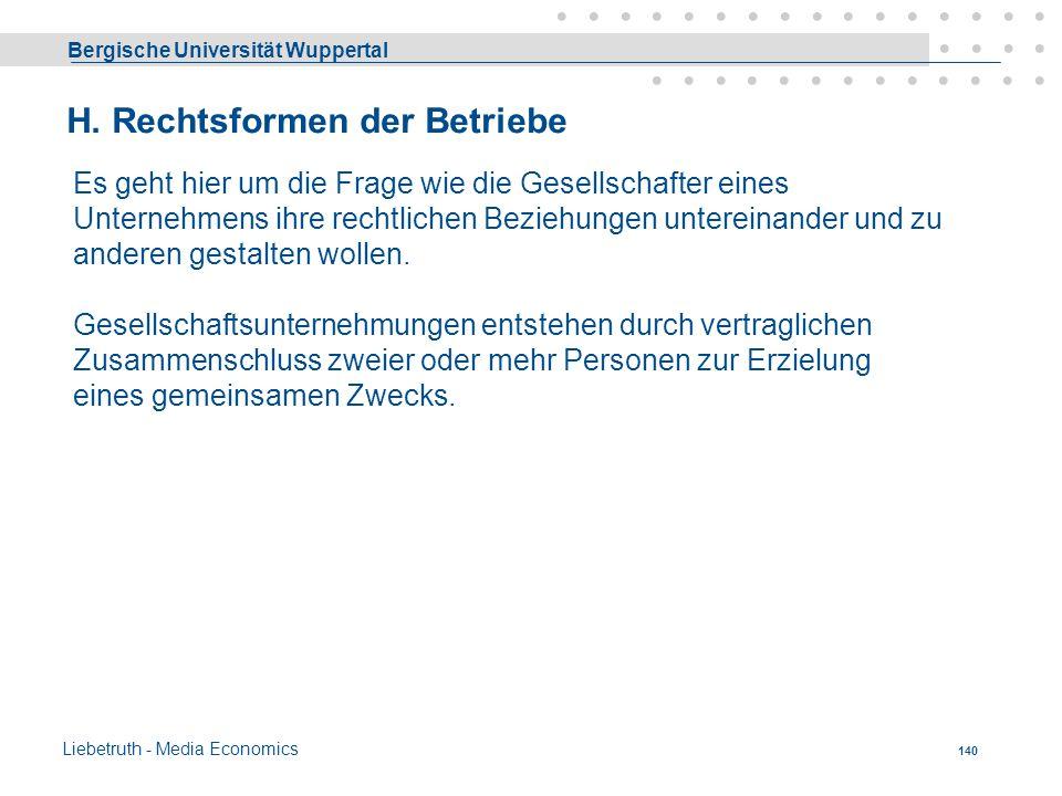 Bergische Universität Wuppertal Liebetruth - Media Economics 139 Minimalkostenkombination