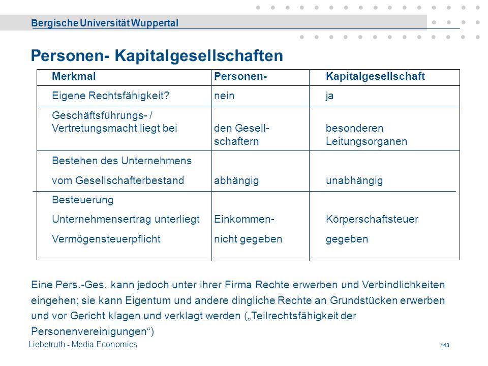 Bergische Universität Wuppertal Liebetruth - Media Economics 142 Arten von Unternehmensformen Grundsätzlich zu unterscheiden sind: - (Einzelunternehmu