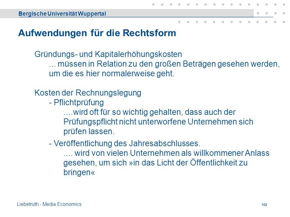 Bergische Universität Wuppertal Liebetruth - Media Economics 161 Anrechnungsverfahren - Beispiel